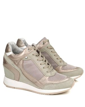 Geox Geox Nydame D540QA lace up wedge trainer Stone Was: £125.00 Now: £62.50