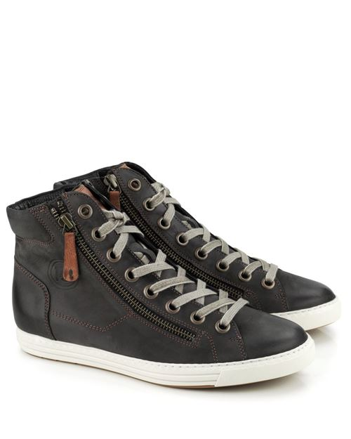 d75e55a70932c8 Paul Green Grey Leather Hi Top Sneakers 1230 Iron Cuoio (272)