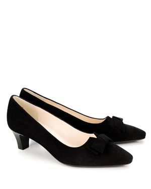 Peter Kaiser Edeltraud suede court shoe with bow Black Was: £115.00 Now: £57.50