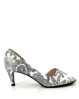 Peter Kaiser Jamala mosaic printed leather peeptoe shoe White Was: £125.00 Now: £49.00