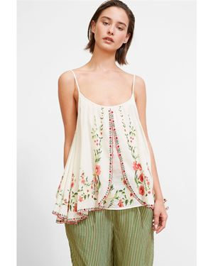 Mes Demoiselles Josephine Floral Embroidered Tank Top ecru Was: £189.00 Now: £94.50