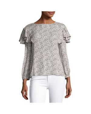 Rebecca Taylor Briar printed blouse Cream Was: £269.00 Now: £188.30
