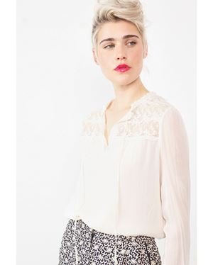 Stella Forest Theodora Lace Inset Blouse Beige Was: £169.00 Now: £84.50