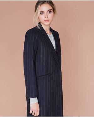 Suncoo Esteban Stripe Wool Coat Navy Was: £220.00 Now: £154.00