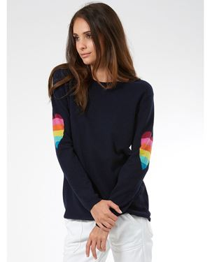 Wyse Ines heart Sleeve Cashmere Jumper Navy £195.00