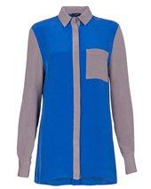 Joseph Yasmen Silk Blouse Lapis Grey £75.00 (was £250.00)