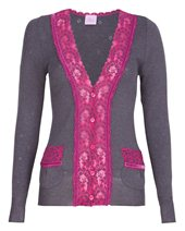 Palace London Velvet Lace Cardigan Anthracite £59.00