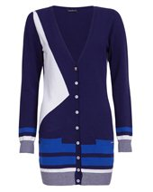 Caractere Long V Cardigan Navy & White £75.00 (was £195.00)