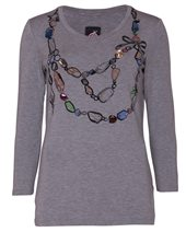 Caractere Jewelled Jersey Top Grey £70.00 (was £99.00)