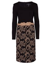 Nissa Gold Print Dress Black £67.00 (was £169.00)