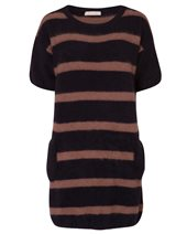Punto D'oro Short Sleeve Tunic Knit Black & Camel £131.00 (was £175.00)