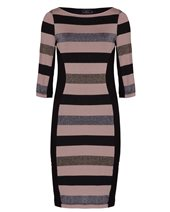 Ariana AD1365 Stripes Dress Natural & Black £74.00 (was £99.00)