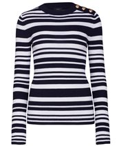 Joseph Round Neck Stripes Navy & Ecru £195.00
